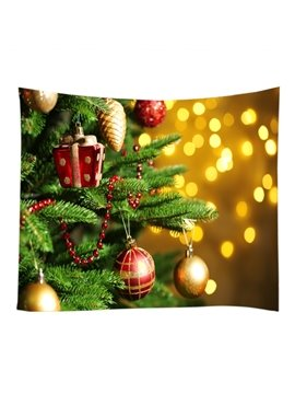 Merry Christmas Decoration Trees with Gifts Pattern Hanging Wall Tapestry