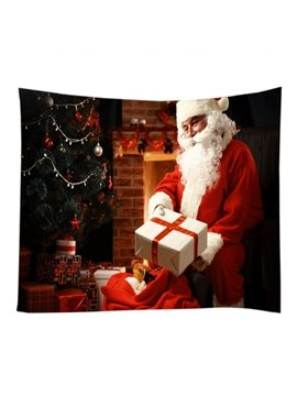 Santa Claus Delivering Christmas Gifts Decorative Hanging Wall Tapestry