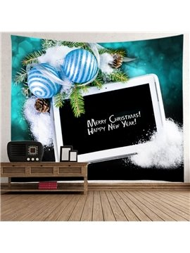 Festival Merry Christmas with Pad and Blue Balls Decorative Hanging Wall Tapestry