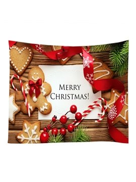 Merry Christmas Cute Cookies Pattern Decorative Hanging Wall Tapestry