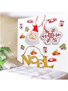 Cartoon Christmas Elements with Santa Claus Decorative Hanging Wall Tapestry