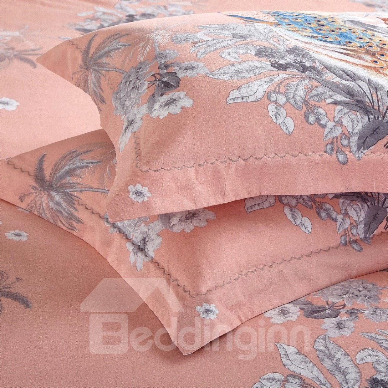 Peacocks and Tigers with Flowers Blooming Pattern Cotton 4-Piece Bedding Sets/Duvet Cover