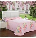 Colorful Flowers Blooming and Flying Butterflies Blue Cotton 4-Piece Bedding Sets/Duvet Cover
