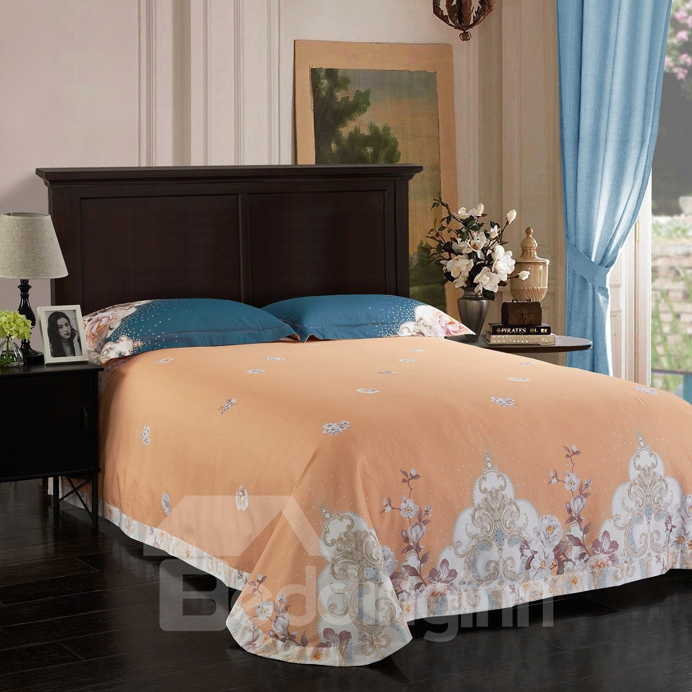Splendid and Dreamy Peonies Blooming Pattern Cotton 4-Piece Bedding Sets/Duvet Cover