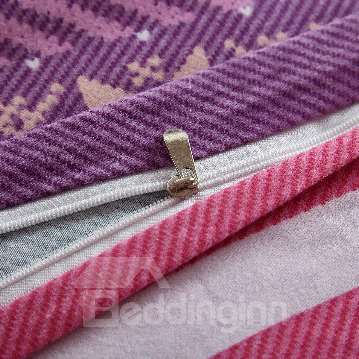 Multi-Color Stripes Pattern Exotic Style Cotton 4-Piece Bedding Sets/Duvet Cover