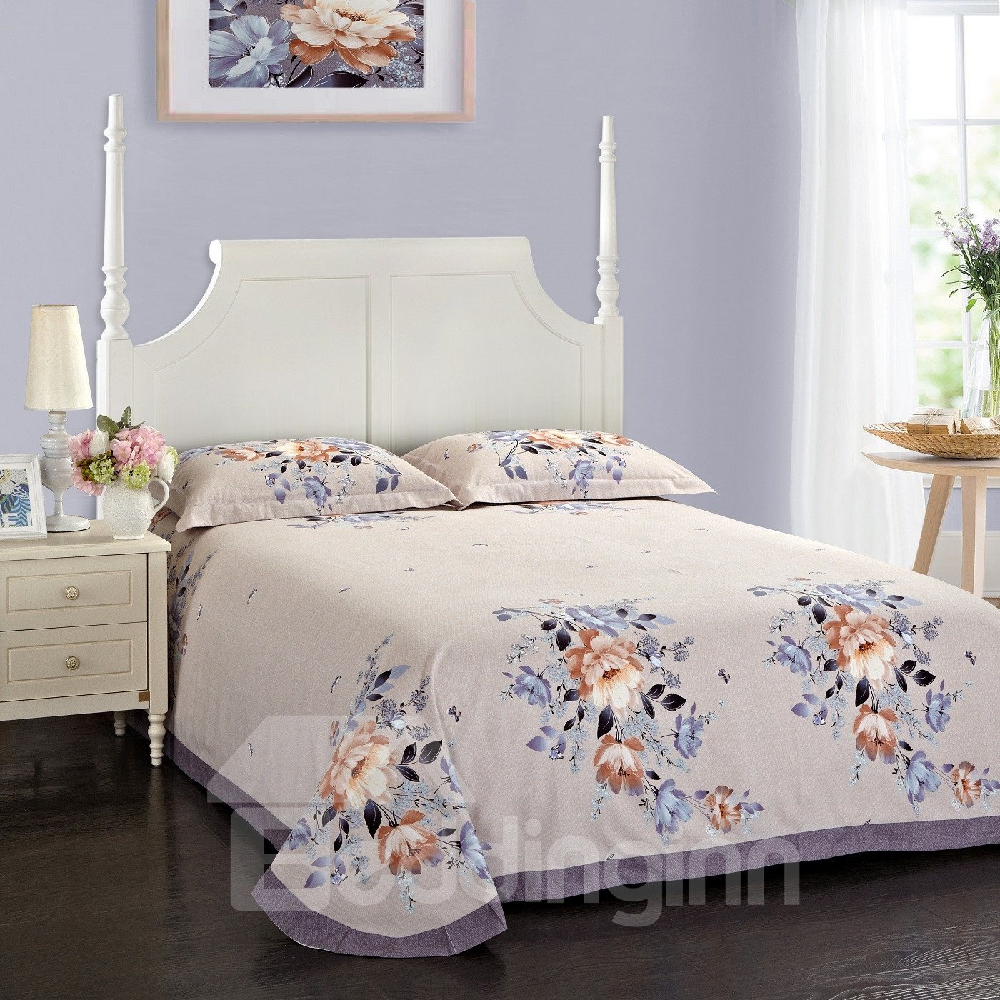 Butterflies and Flowers Blooming Pattern Pastoral Style Cotton 4-Piece Bedding Sets/Duvet Cover