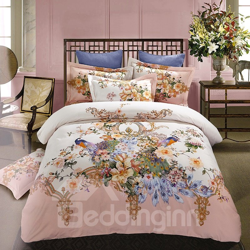 Peonies Flowers Blossom and Peacocks Pattern Cotton 4-Piece Bedding Sets/Duvet Cover