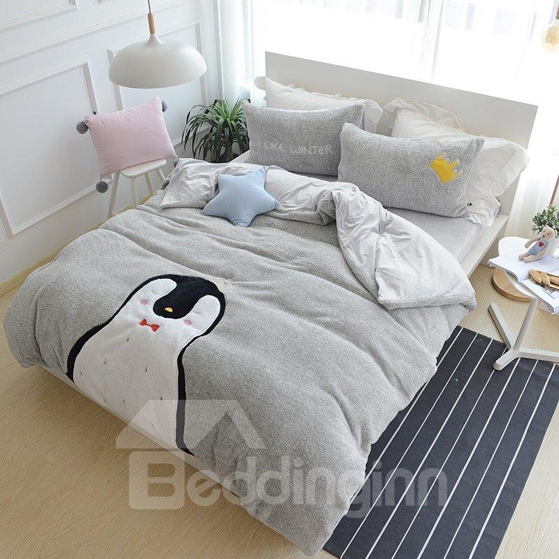 Full Size Cartoon Penguin Pattern Grey Soft 4-Piece Fluffy Bedding Sets/Duvet Cover