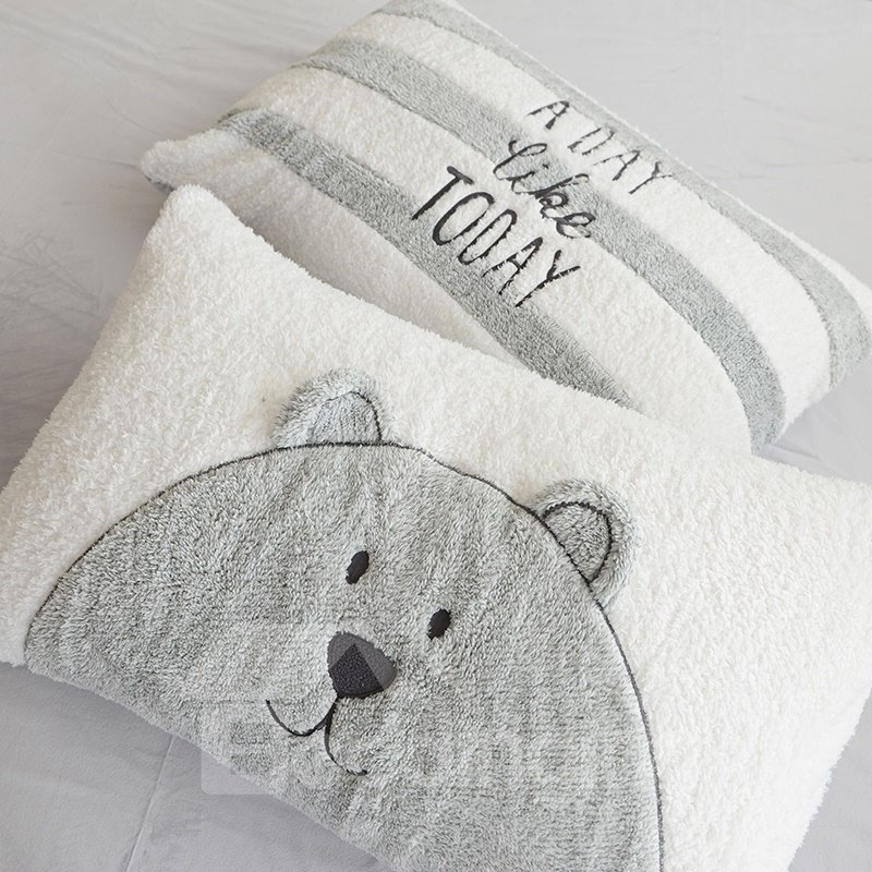 Full Size Cartoon Bear Pattern Grey Soft 4-Piece Fluffy Bedding Sets/Duvet Cover