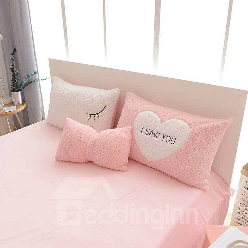 Full Size Sweet Heart Pattern Pink Soft 4-Piece Fluffy Bedding Sets/Duvet Cover