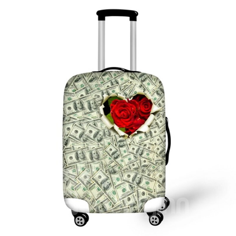 Rose and Money Pattern Waterproof Suitcase Protector for 19 20 21