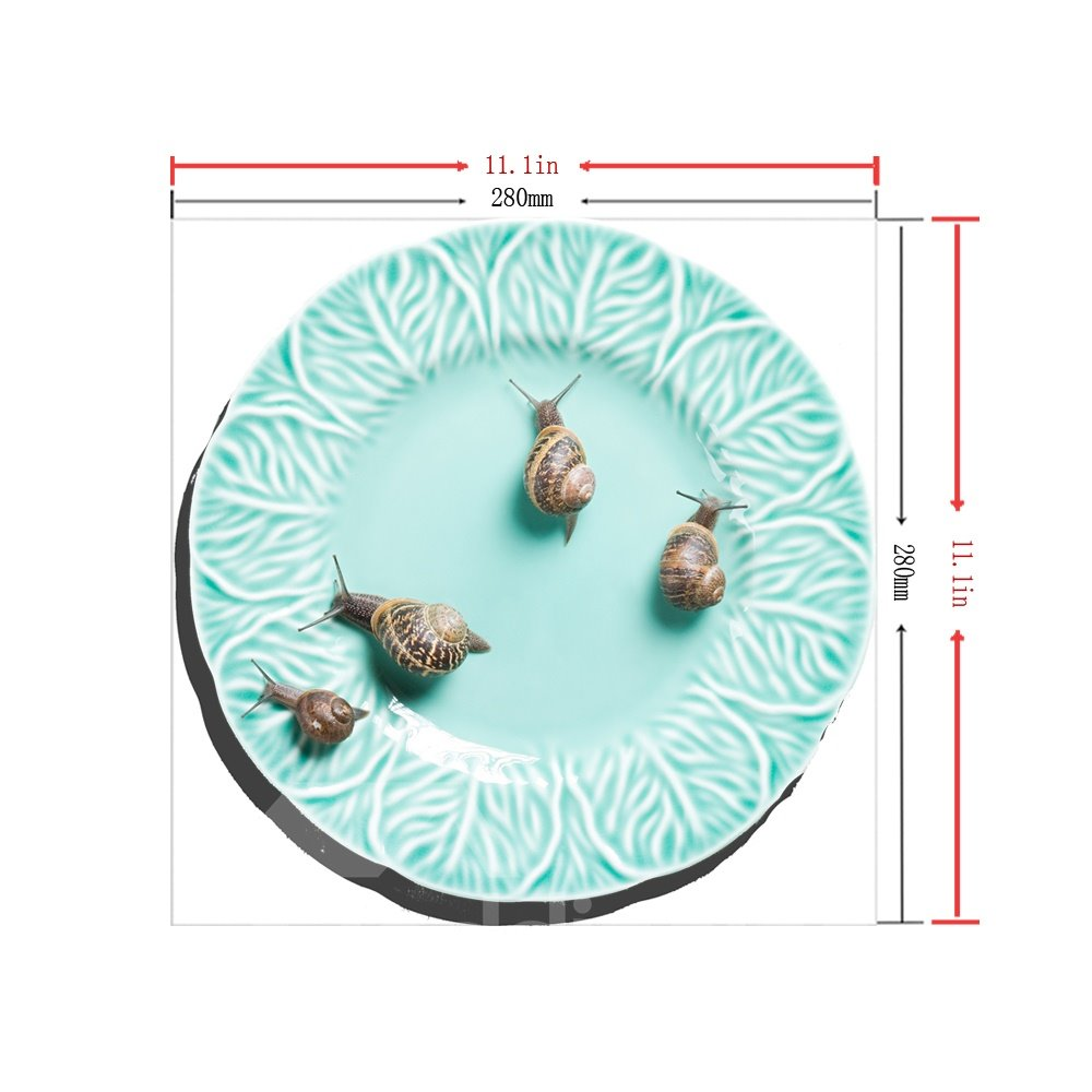 3D Green Dish Snails Pattern Removable Mouse Pad Desk Stickers