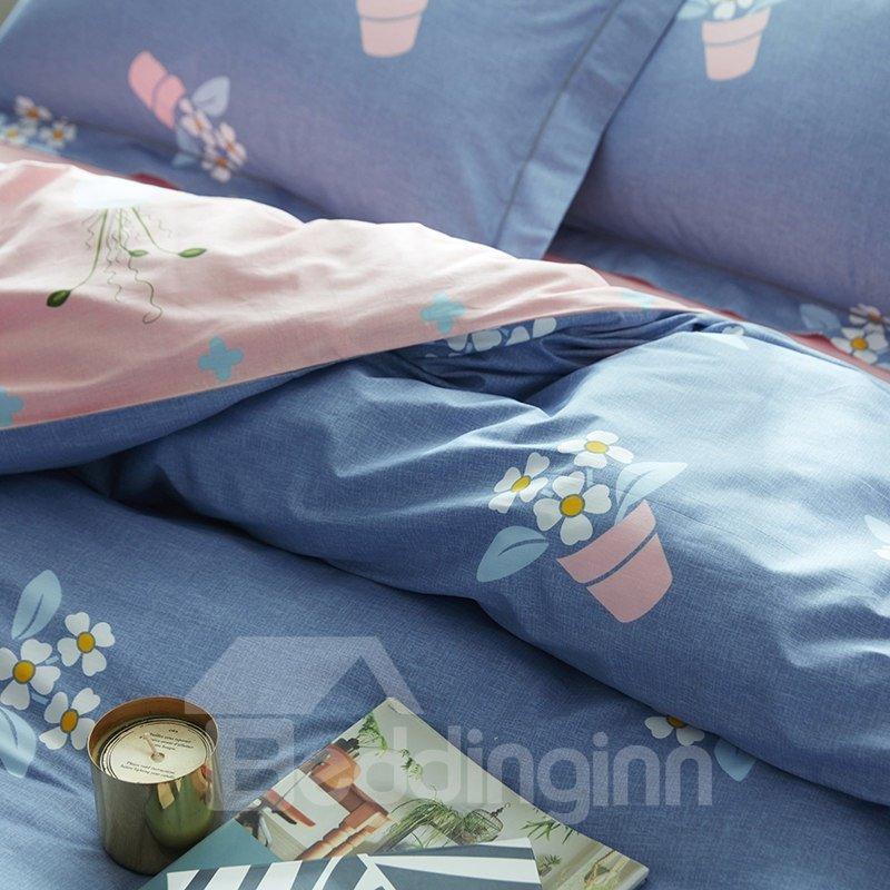 Lovely Potting Flowers Pattern Blue Cotton 4-Piece Bedding Sets/Duvet Cover