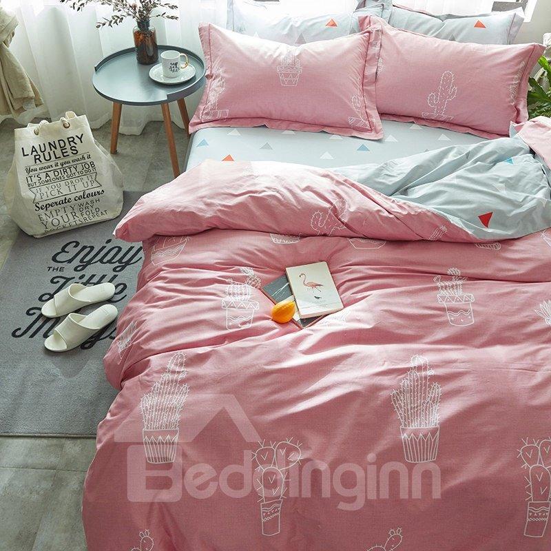 White Cartoon Cactus Pattern Pink Cotton 4-Piece Bedding Sets/Duvet Cover