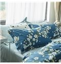Pastoral Style White Flowers Blooming Dark Blue Cotton 4-Piece Bedding Sets/Duvet Cover