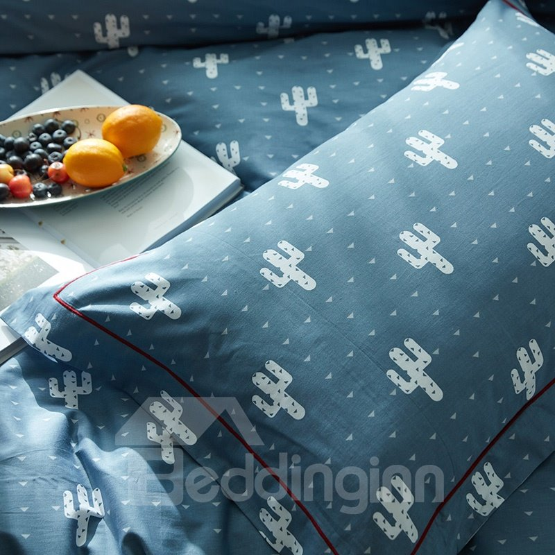 Simple Style Cactus Pattern Lake Blue Cotton 4-Piece Bedding Sets/Duvet Cover
