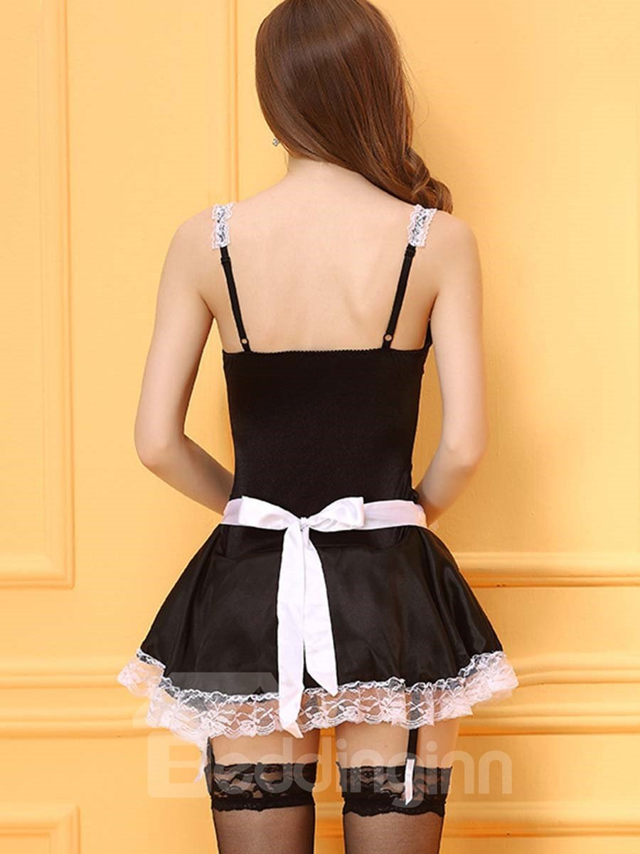 Black and White Sexy French Maid Lace Up 3-Piece Costume