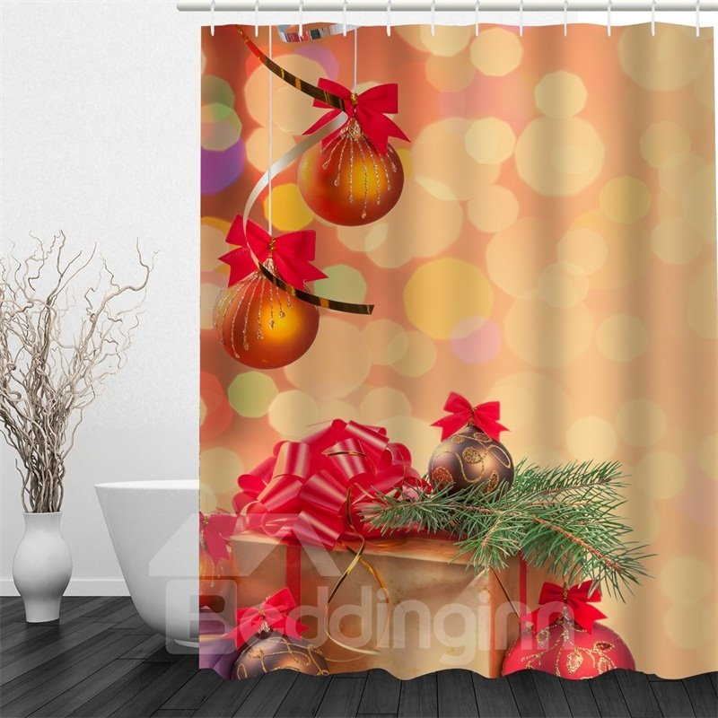 3D Christmas Hanging Balls Gifts Polyester Waterproof Antibacterial and Eco-friendly Shower Curtain