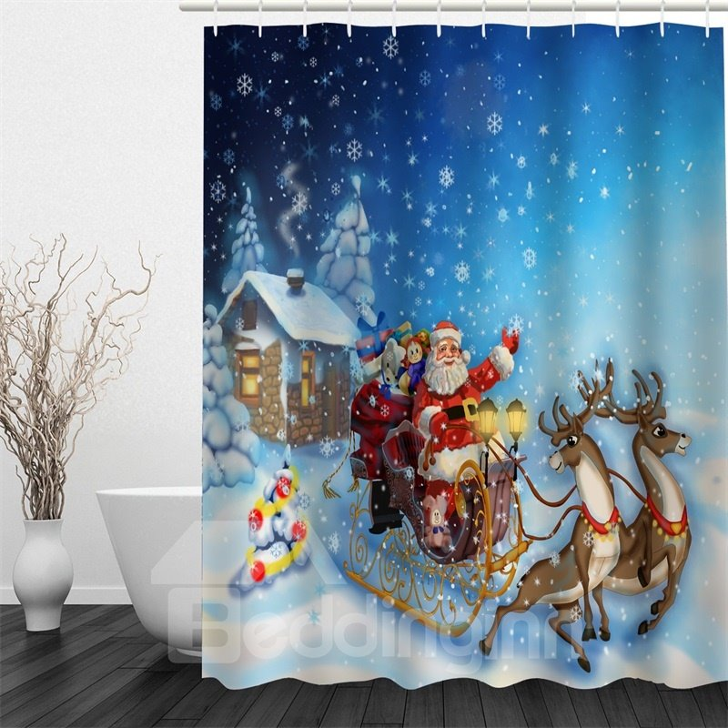 3D Christmas Father Sending Gifts Polyester Waterproof Antibacterial Eco-friendly Shower Curtain