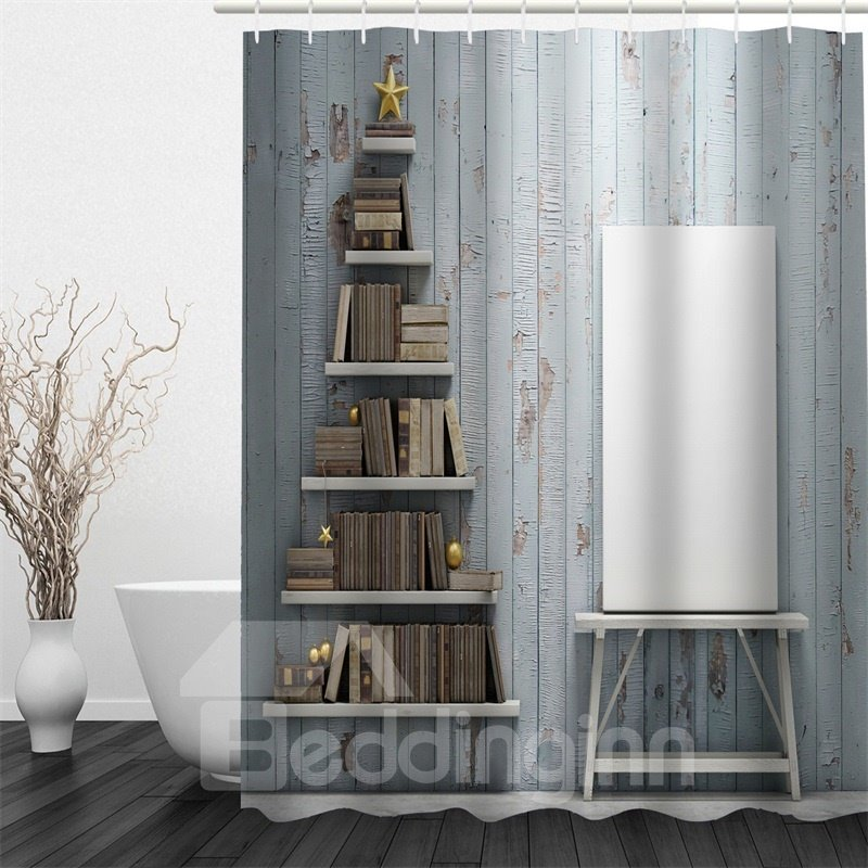 3D Books on Shelves Printed Polyester Waterproof Antibacterial Eco-friendly Shower Curtain