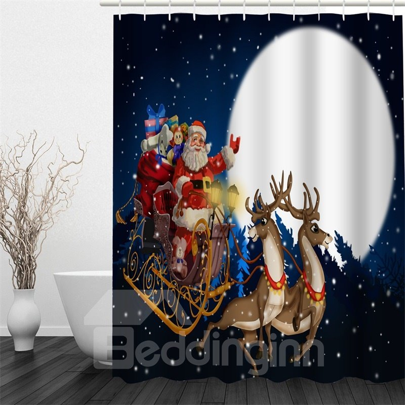 3D Christmas Father Deer Presents Moon Polyester Waterproof Antibacterial Eco-friendly Shower Curtain