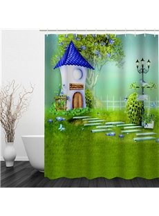 3D Green Lawn House Polyester Waterproof Antibacterial and Eco-friendly Shower Curtain