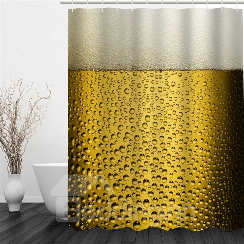 3D Beer Printed Polyester Waterproof Antibacterial and Eco-friendly Shower Curtain