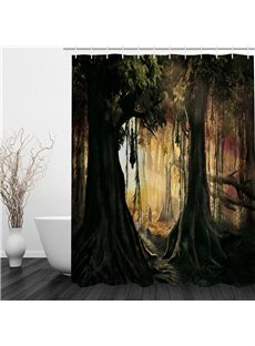 3D Forest Sunshine Printed Polyester Waterproof Antibacterial and Eco-friendly Shower Curtain