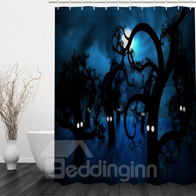 3D Blue Night Tree Spirits Polyester Waterproof Antibacterial and Eco-friendly Shower Curtain