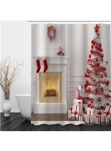 3D Red Christmas Tree Socks Printed Polyester Waterproof Antibacterial Eco-friendly Shower Curtain