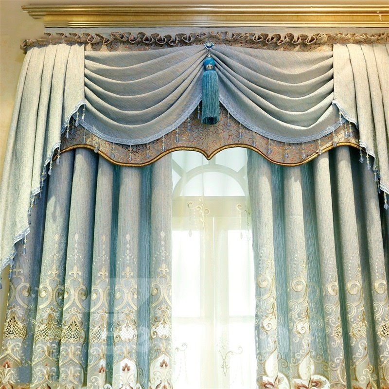 Modern and Pastoral Light Blue with Beautiful Flowers Breathable and Decorative Shading Curtain