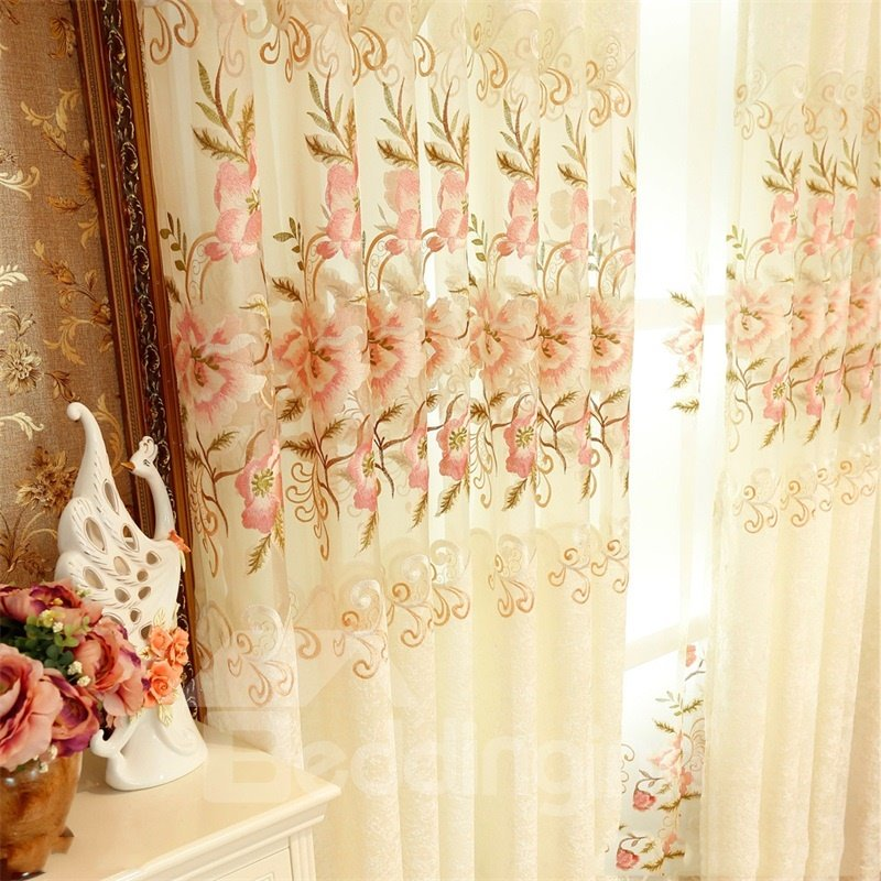 Beige Chenille with Embroidered Pink Peach Flowers Romantic and Elegant Living Window Drapes