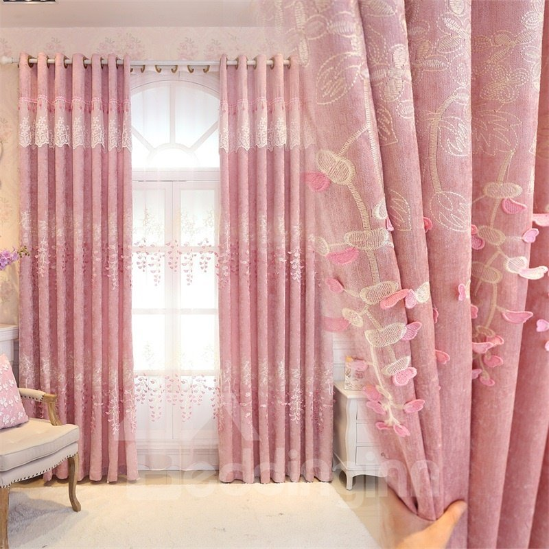 Romantic Pink Color Pastoral Style Embroidered Living Room Finished ...