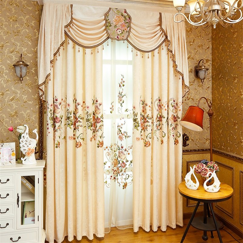 Modern and Pastoral American Style Royal Chenille Living Room and Bedroom Shading Cloth