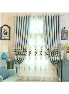 Light Blue High Quality Chenille 2 Pieces Decorative and Breathable Sheer Drapes