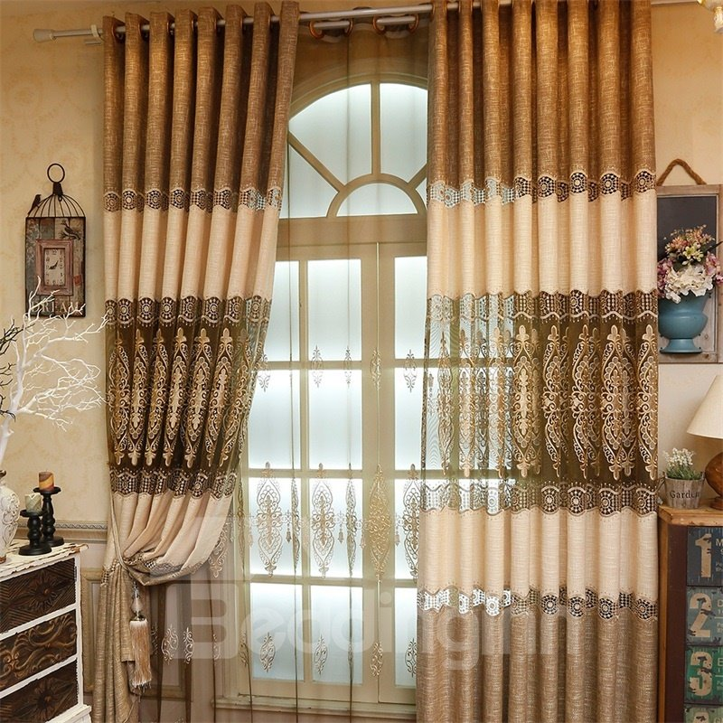 High Quality Chenille Materials 2 Panels Living Room and Bedroom Sheer Drapes