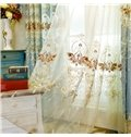 Modern and Pastoral Light Blue with Beautiful Flowers Breathable and Decorative Sheer Curtain