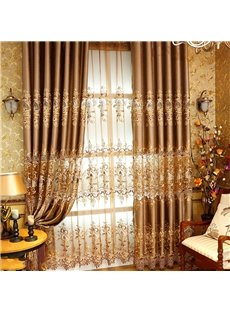 Nobel and Elegant European Style High Quality Chenille Embroidered Damask Sheer Curtain