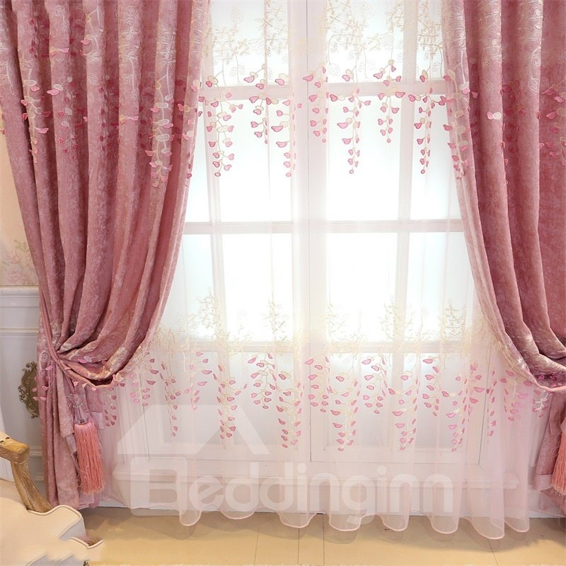 Romantic Pink Color Pastoral Style Embroidered Living Room Finished Product Sheer
