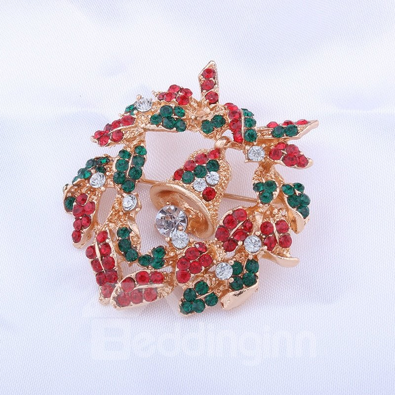 Holiday Christmas Xmas Red Wreath Brooch Pin Jewelry Gift
