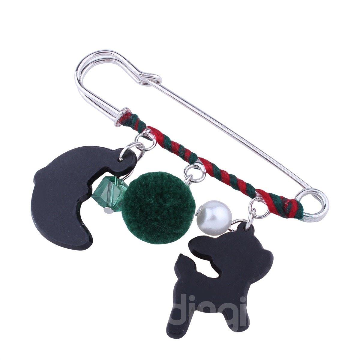 Holiday Christmas Deer Moon Brooch Pin Jewelry Gift