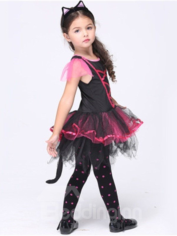 Halloween Tails Decoration Polyester and Net Cloth Black Kids Costume