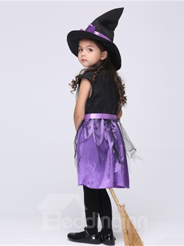 Halloween Little Witch Polyester Purple and Black Kids Costume Set