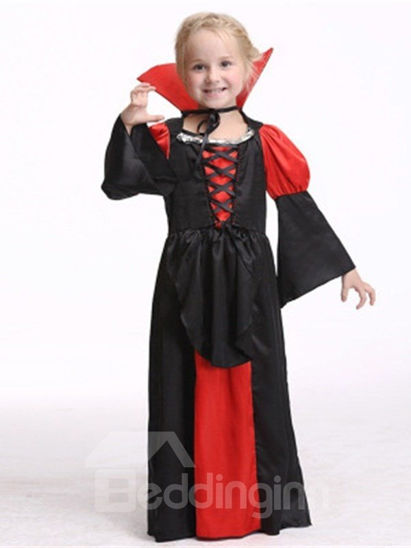 Halloween Princess Polyester and Net Cloth Red and Black Kids Costume