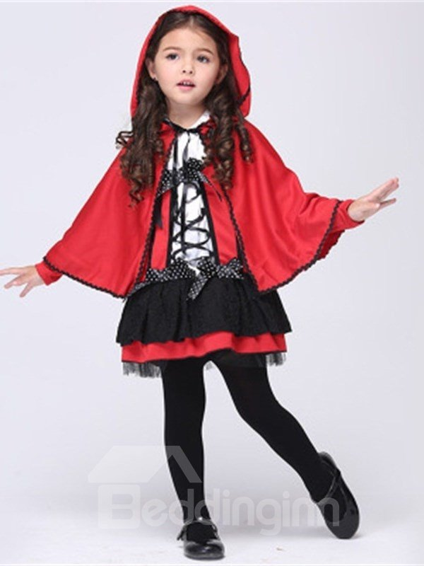 Halloween Witch Polyester and Net Cloth Red Kids Costume