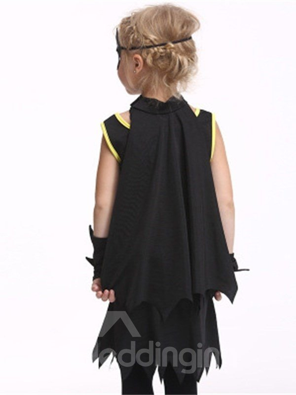 Halloween Bat Shape Polyester and Net Cloth Black Kids Costume