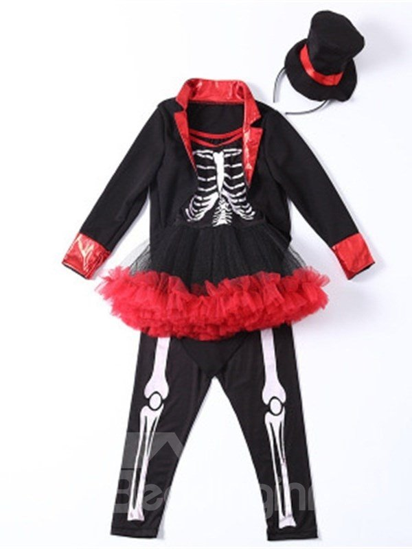 Halloween Skull Decoration Polyester and Net Cloth Black Kids Costume