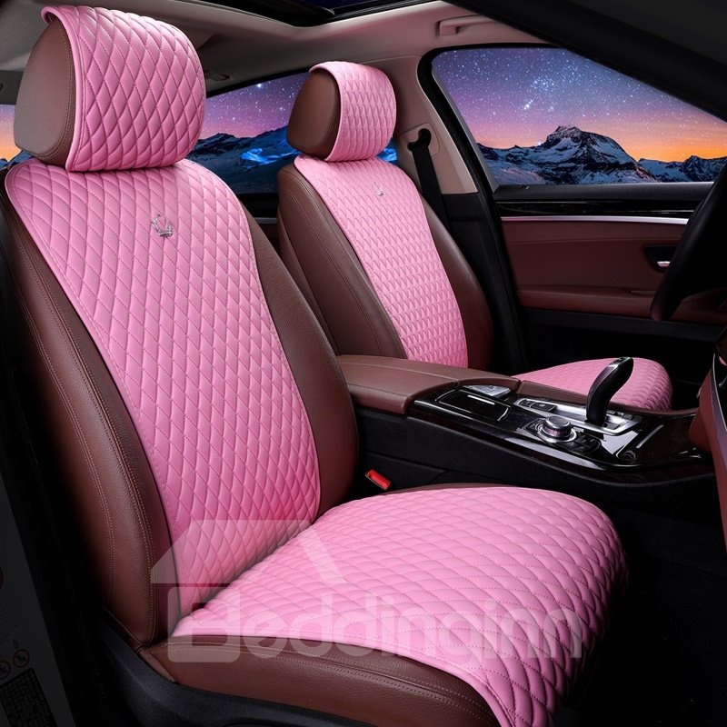 Girly Design Soft Pink Leather Universal Fit Car Seat Covers ...