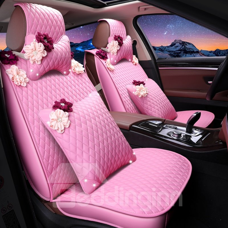 Lovely Pink Leather With White Flowers Cost-Effective Universal Car Seat Cover