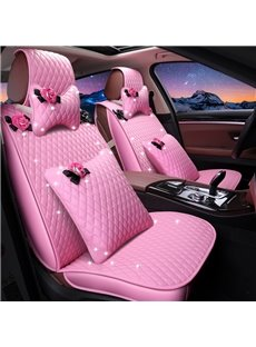 Girly Lovely Pink Color Waterproof Durable Leather Universal Car Seat Cover